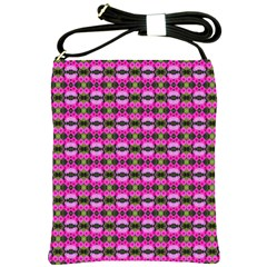 Pretty Pink Flower Pattern Shoulder Sling Bags by BrightVibesDesign