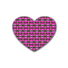 Pretty Pink Flower Pattern Heart Coaster (4 Pack)  by BrightVibesDesign