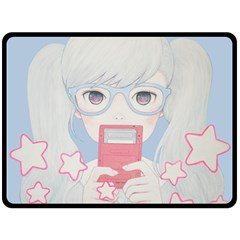 Gamegirl Girl Play With Star Double Sided Fleece Blanket (large)  by kaoruhasegawa