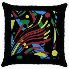 Optimistic Abstraction Throw Pillow Case (black) by Valentinaart