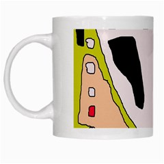 Yellow Abstraction White Mugs by Valentinaart