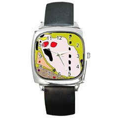 Yellow Abstraction Square Metal Watch by Valentinaart