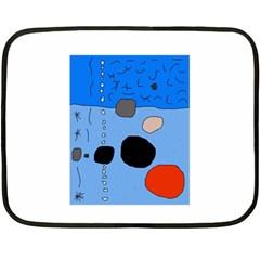 Blue Abstraction Fleece Blanket (mini) by Valentinaart