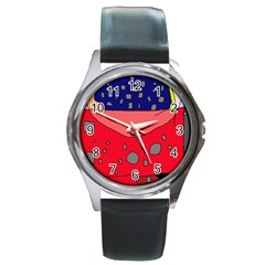 Playful Abstraction Round Metal Watch by Valentinaart