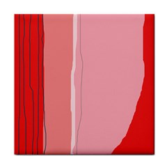 Red And Pink Lines Tile Coasters by Valentinaart