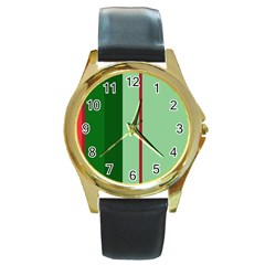 Green And Red Design Round Gold Metal Watch by Valentinaart
