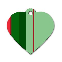 Green And Red Design Dog Tag Heart (two Sides) by Valentinaart