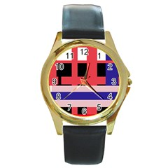 Red Abstraction Round Gold Metal Watch by Valentinaart