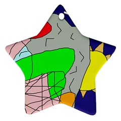 Crazy Abstraction Ornament (star)  by Valentinaart