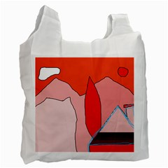 Red Landscape Recycle Bag (two Side)  by Valentinaart