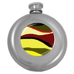 Decorative abstract design Round Hip Flask (5 oz) by Valentinaart