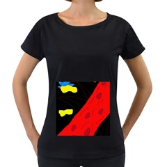 Red abstraction Women s Loose-Fit T-Shirt (Black)