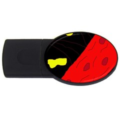 Red Abstraction Usb Flash Drive Oval (4 Gb)  by Valentinaart