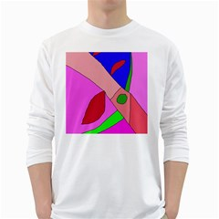 Pink Abstraction White Long Sleeve T Shirts by Valentinaart
