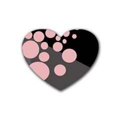 Pink Dots Rubber Coaster (heart)  by Valentinaart