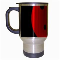 Red circle Travel Mug (Silver Gray) by Valentinaart