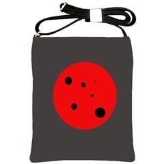 Red Circle Shoulder Sling Bags by Valentinaart
