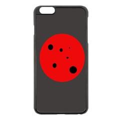 Red circle Apple iPhone 6 Plus/6S Plus Black Enamel Case by Valentinaart