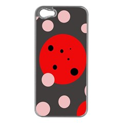 Red and pink dots Apple iPhone 5 Case (Silver)