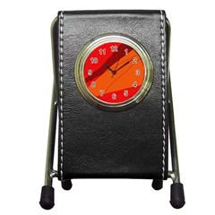 Red and orange decorative abstraction Pen Holder Desk Clocks by Valentinaart