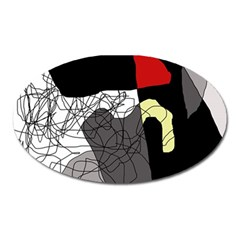 Decorative Abstraction Oval Magnet by Valentinaart