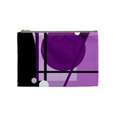 Purple Geometrical Abstraction Cosmetic Bag (medium)  by Valentinaart
