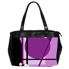 Purple Geometrical Abstraction Office Handbags (2 Sides)  by Valentinaart