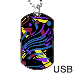 Optimistic abstraction Dog Tag USB Flash (One Side) by Valentinaart