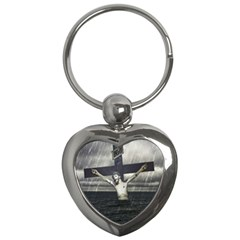 Jesus On The Cross At The Sea Key Chains (heart)  by dflcprints