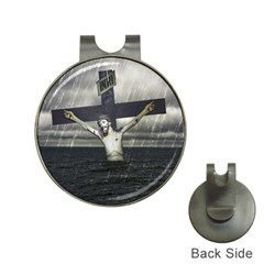 Jesus On The Cross At The Sea Hat Clips With Golf Markers by dflcprints