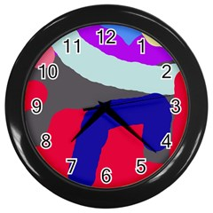 Crazy Abstraction Wall Clocks (black) by Valentinaart