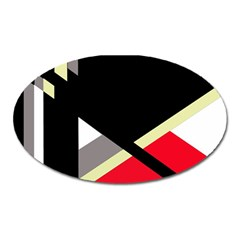Red And Black Abstraction Oval Magnet by Valentinaart