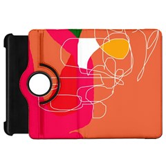 Orange Abstraction Kindle Fire Hd Flip 360 Case by Valentinaart