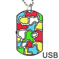 Colorful abtraction Dog Tag USB Flash (Two Sides)  by Valentinaart