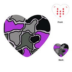 Purple and gray abstraction Playing Cards (Heart)  by Valentinaart