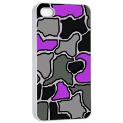 Purple And Gray Abstraction Apple Iphone 4/4s Seamless Case (white) by Valentinaart