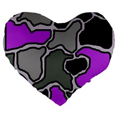 Purple And Gray Abstraction Large 19  Premium Heart Shape Cushions by Valentinaart