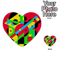 Colorful Geometrical Abstraction Multi Purpose Cards (heart)  by Valentinaart