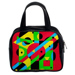 Colorful Geometrical Abstraction Classic Handbags (2 Sides) by Valentinaart