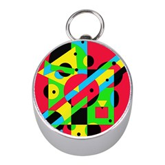 Colorful Geometrical Abstraction Mini Silver Compasses by Valentinaart