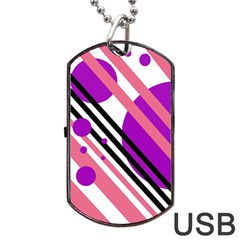 Purple lines and circles Dog Tag USB Flash (Two Sides)  by Valentinaart
