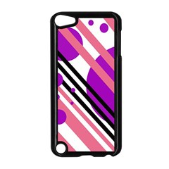 Purple lines and circles Apple iPod Touch 5 Case (Black) by Valentinaart