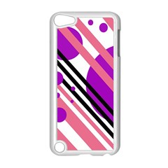 Purple lines and circles Apple iPod Touch 5 Case (White) by Valentinaart