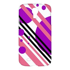 Purple Lines And Circles Samsung Galaxy S4 I9500/i9505 Hardshell Case by Valentinaart