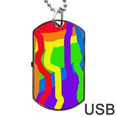 Rainbow abstraction Dog Tag USB Flash (Two Sides)  by Valentinaart