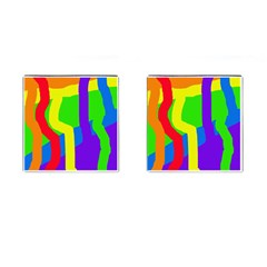 Rainbow abstraction Cufflinks (Square) by Valentinaart