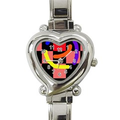 Multicolor abstraction Heart Italian Charm Watch