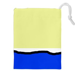 Yellow And Blue Simple Design Drawstring Pouches (xxl) by Valentinaart