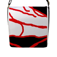 Red, Black And White Design Flap Messenger Bag (l)  by Valentinaart