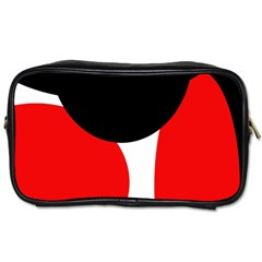 Red, Black And White Toiletries Bags 2 Side by Valentinaart